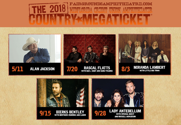 2018 Country Megaticket Tickets (Includes All Performances) at MidFlorida Credit Union Amphitheatre