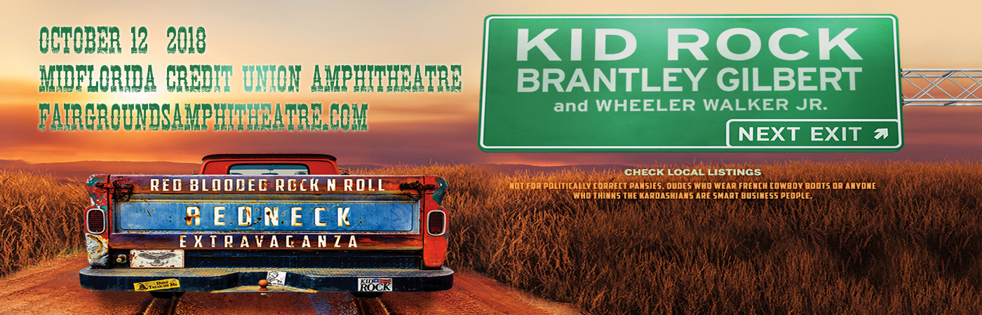 Kid Rock, Brantley Gilbert & Wheeler Walker Jr. at MidFlorida Credit Union Amphitheatre